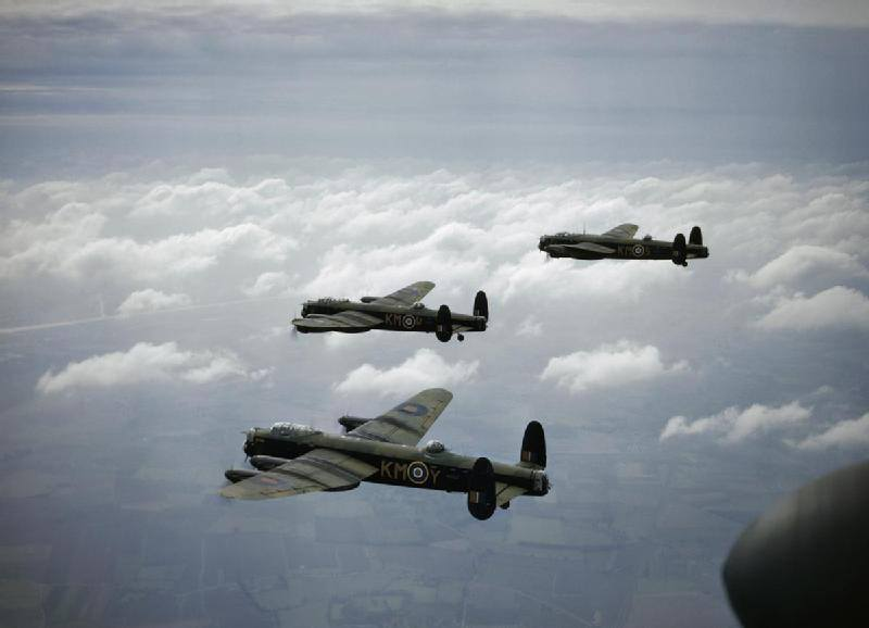 44 (Rhodesia) Squadron Lancasters in flight (from the National Archives)