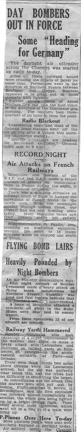 Clipping from the Yorkshire Post from the day after the raid (kept by Ronald Houseman's sister Dorothy)