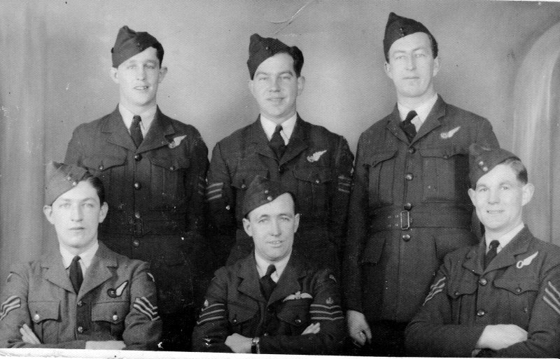 Don Irving and five of his crew. Back row, John Newman, Stanley (George) King, John Noske. Front row Frank Phillips, Don Irving, Norman Huggett. Not pictured is Wally Adam.
