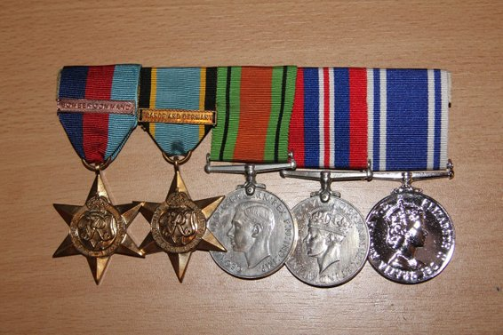 1939-45 Star with Bomber Command Clasp, Aircrew Europe Star with France and Germany Clasp, Defence Medal, War Medal, Police Long Service Medal