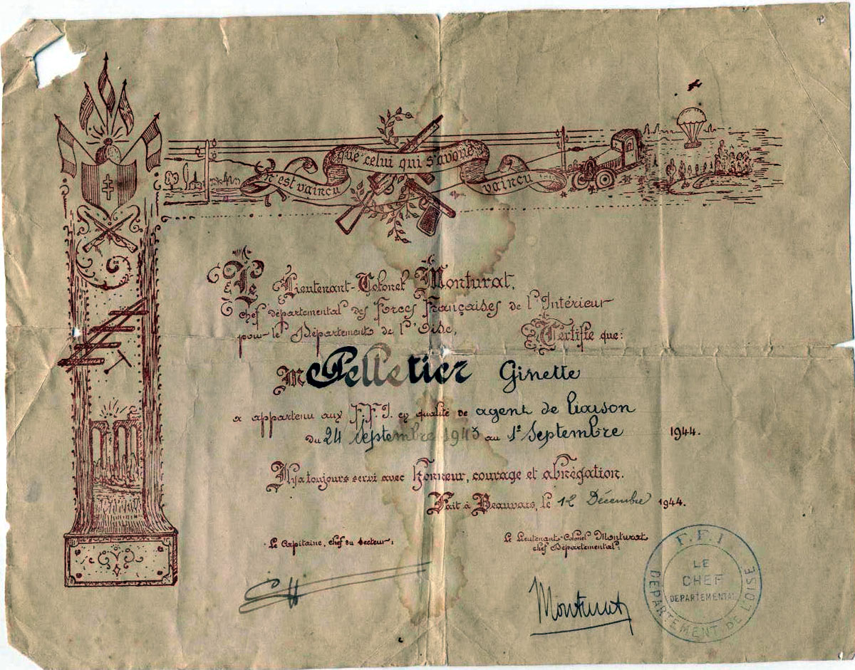 Ginette's certificate of membership of the French Resistance