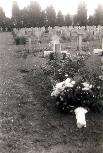 The grave of the six that did not escape the aircraft in 1951, before the official CWGC marker was put up