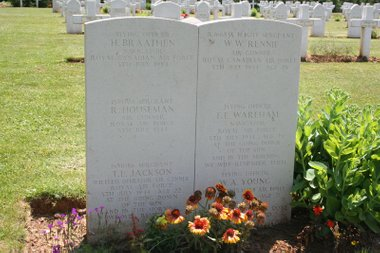 Bill Rennie's grave in France,shared with his five crewmates