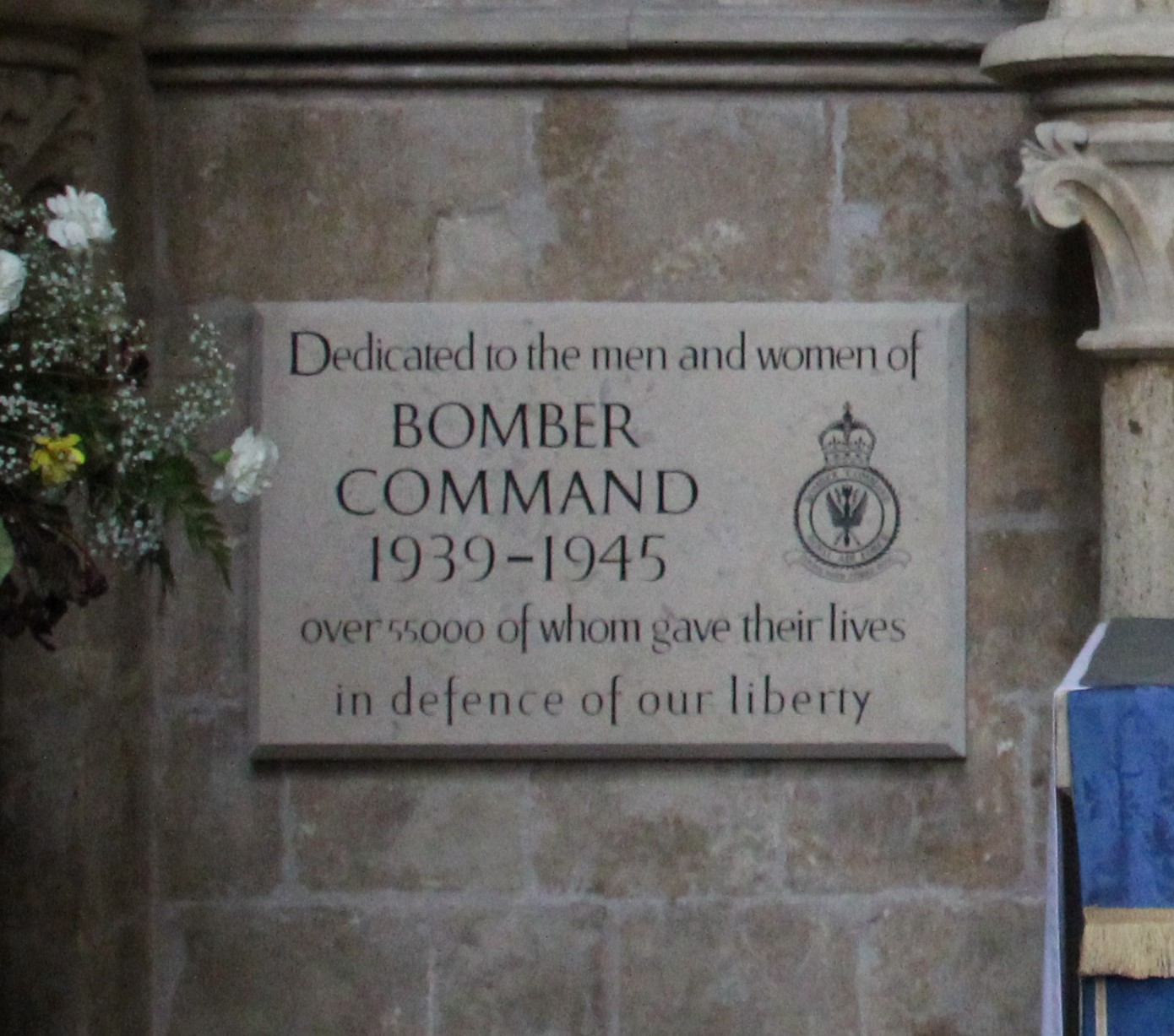 Memorial plaque to Bomber Command in Lincoln Cathedral