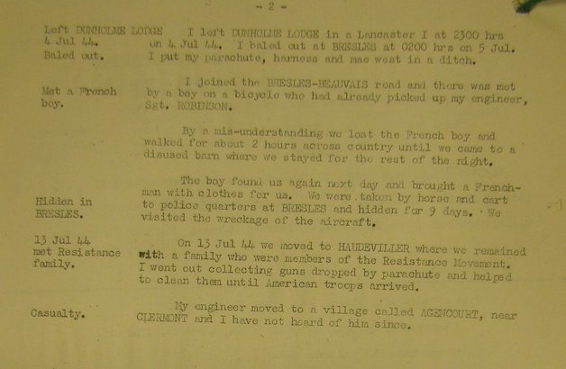 F/Sgt J E Wainwright's IS9 Report from the National Archives