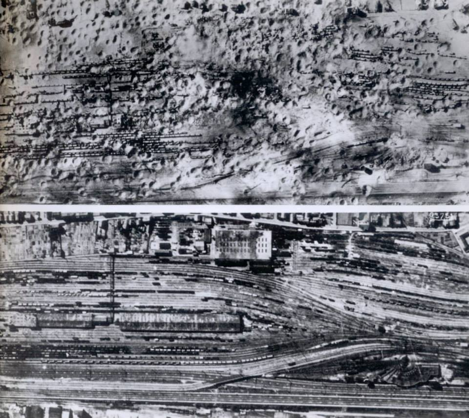 Juvisy railway junstions before and after the raid from the National Archives