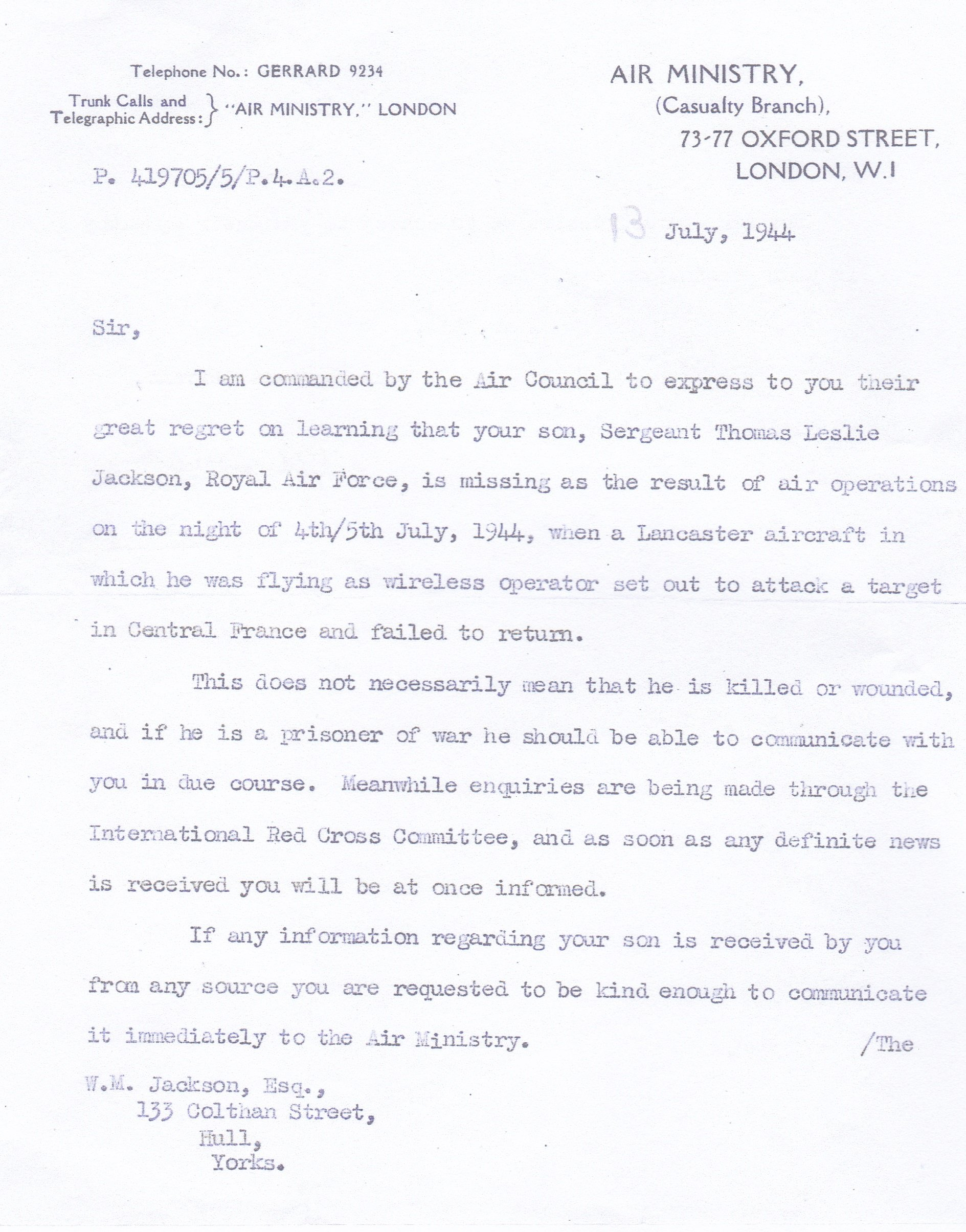 Air Ministry Letter 13th July 1944