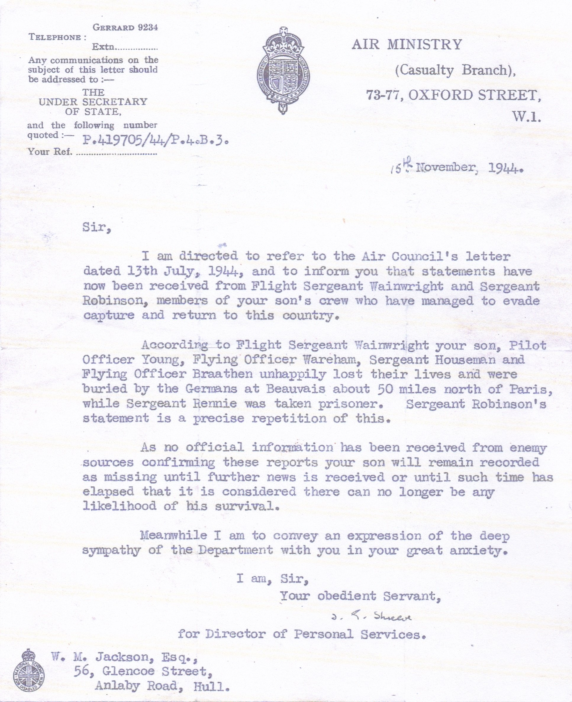 Air Minisrty Letter 15th Novembr 1944