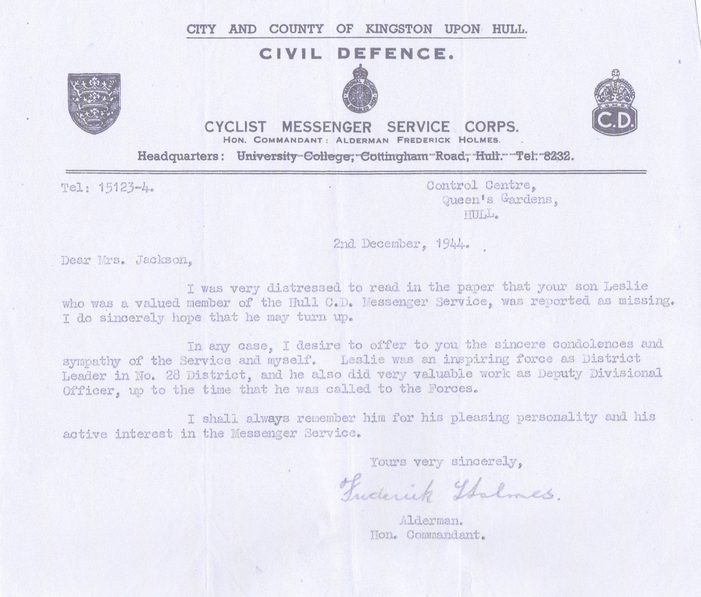 Civil Defence Letter 2nd December 1944