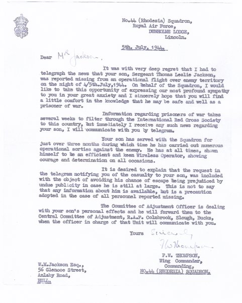 Letter from W/Cdr F.W. Thompson
