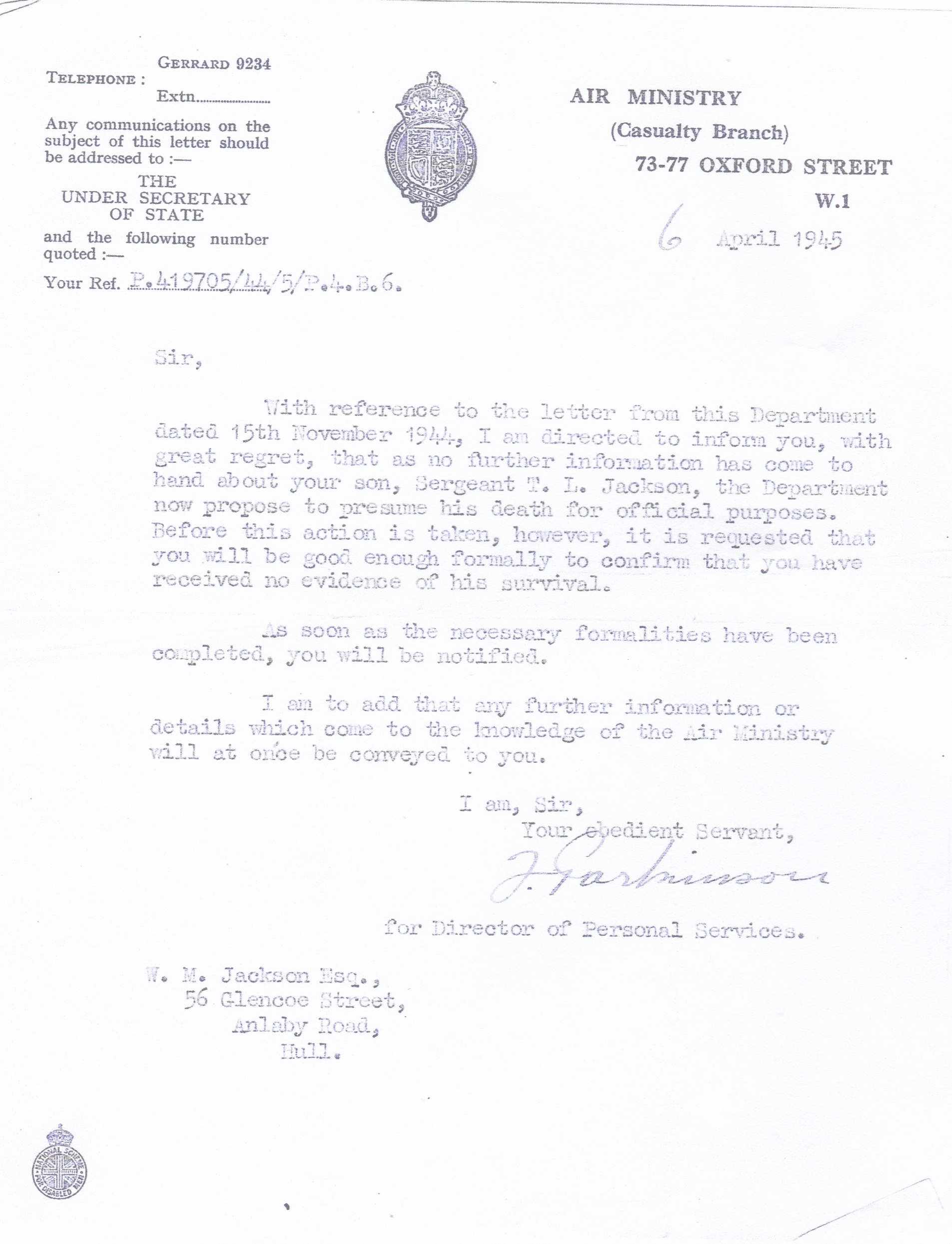 Air Ministry Letter 6th June 1945