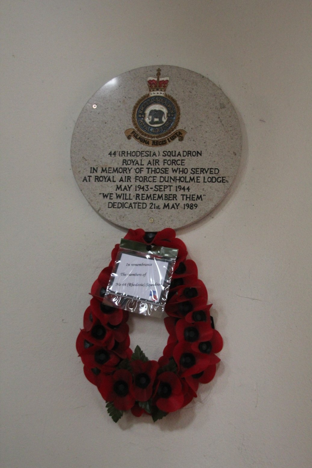 44 (Rhodesia) Squadron Memorial in St Chad's Church, Dunholme