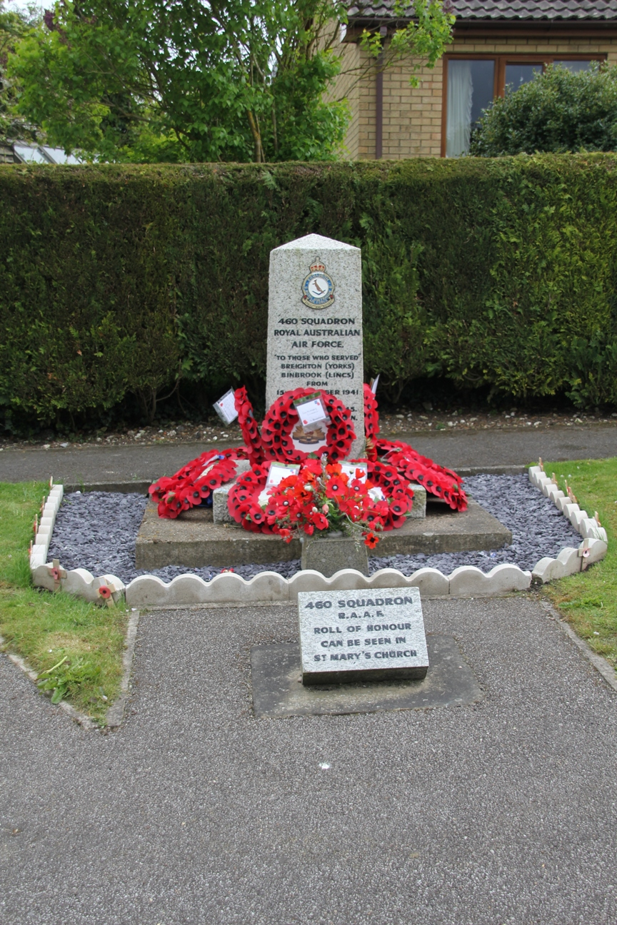 Memorial to 460 Squadron RAAF at Binbrook