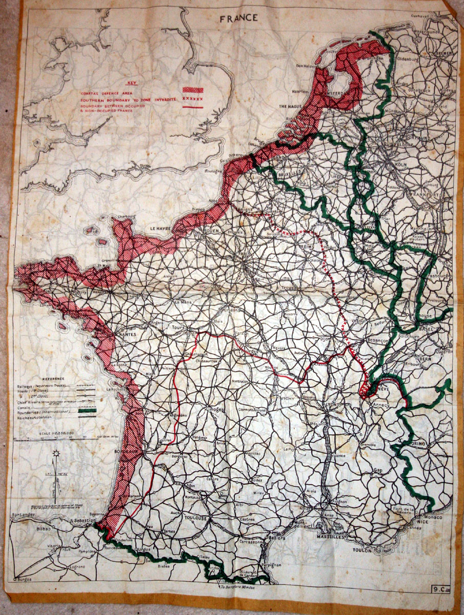 "A RAF silk ""evaders"" map given to the Pelletier family by my father as a souvenir of his stay with them"