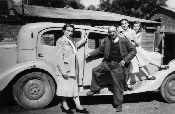 Abel Pelletier with Mme Pelletier, Janine and Denise in 1951