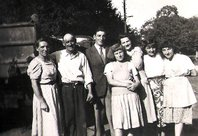 Mme Pelletier, Abel Pelletier with Moise, Jacqueline, Janine and Denise with my Mother in 1951