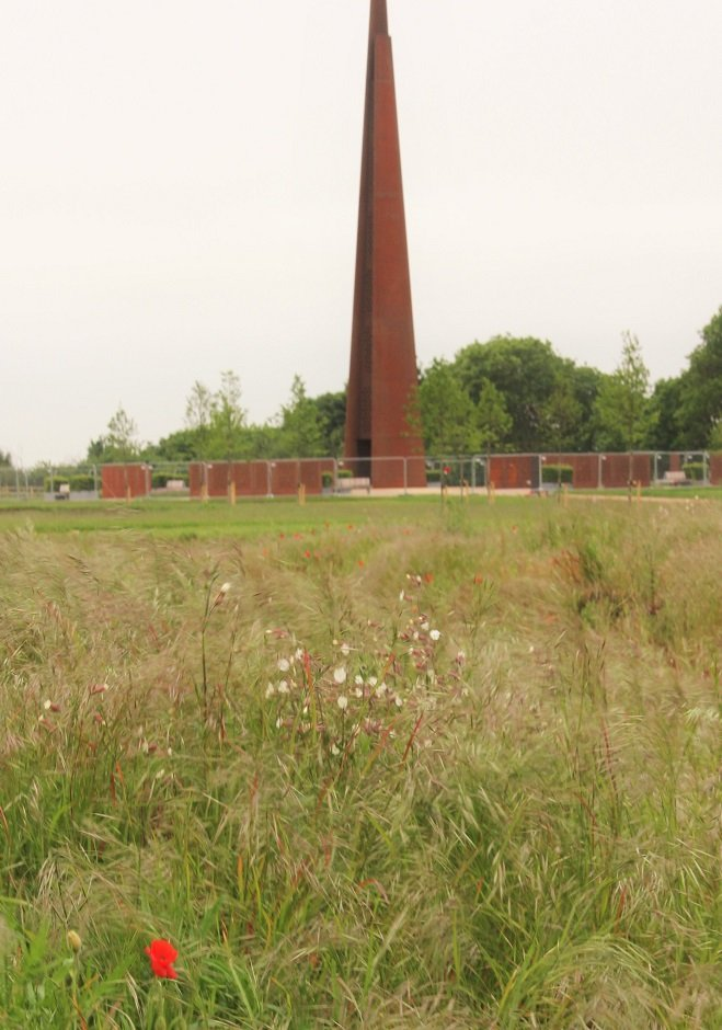 The Memorial Spire and walls at the International Bomber Command Centre, Lincoln