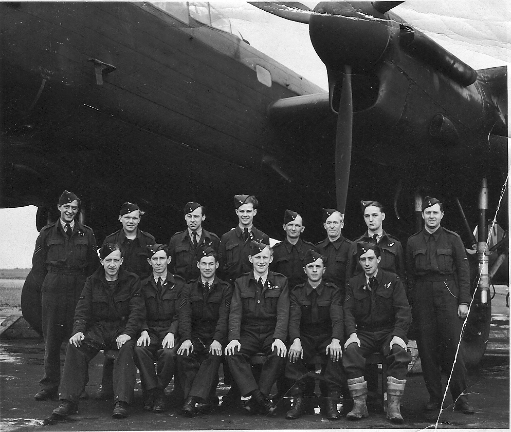 A photo from Bob's collection originally thought to be the ground crew of KM-T and another Aircrew. This crew has been identified as that of P/O Kenneth Gowing, who were shot down in Lancaster LM631 (KM-W) on the next raid of St Leu d'Esserent on 7th July 1944 and crashed at Lucy (near Neuchâtel-en-Bray), wth the loss of the pilot and Flight Engineer. The rest evaded capture.