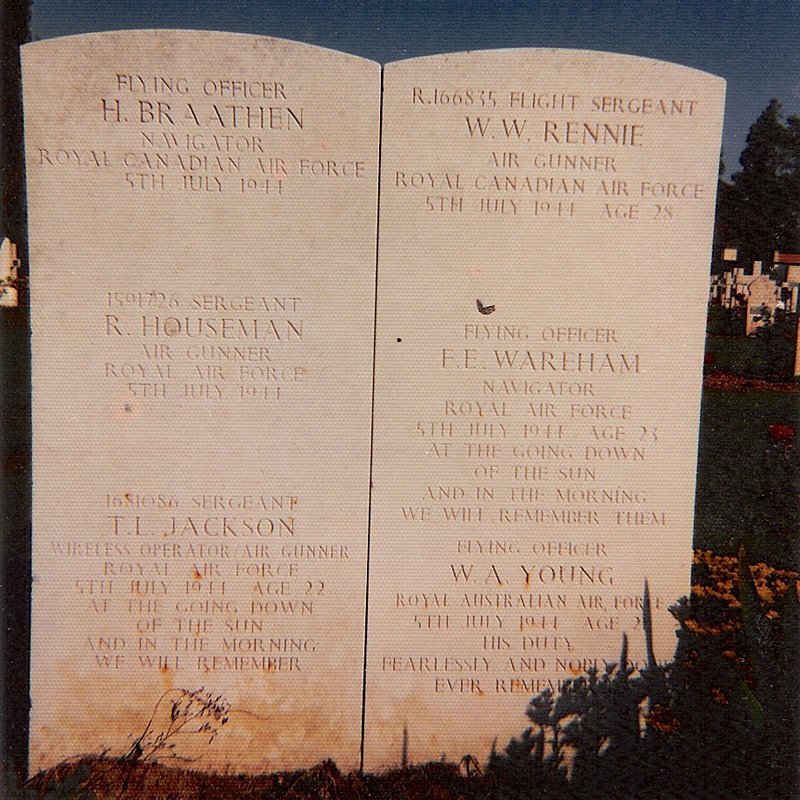 A picture of the crew's gravestone taken by Bob in France