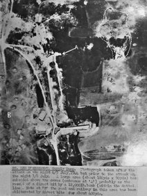 Aerial photograph of the St Leu d'Esserent caves after the first raid 4th/5th July 1944 (from the National Archives)