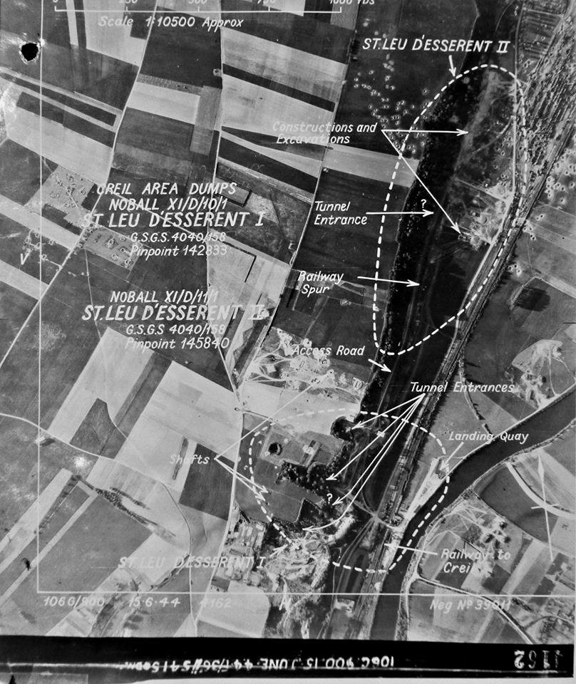 Aerial photo of the St Leu d'Esserent caves taken before the raid (from the National Archives)