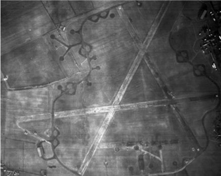 RAF Dunholme Lodge after it was closed in early 1945, as can be seen from the X-marks on the runways ('Every RAF Bomber Command base in England mapped', in The Telegraph)