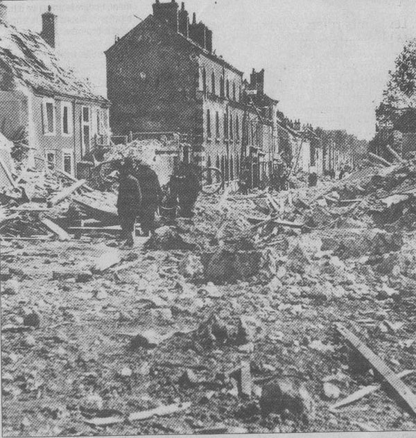 Houses damaged in Faubourgbannier Street by the diversionary raid