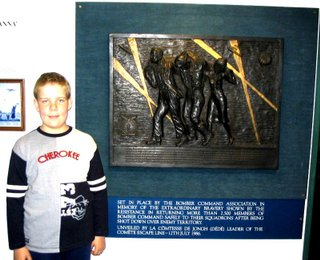 Jack's grandson, James Wainwright, who's school project work started it all stood by the plaque at the RAF Museum, Hendon, commemorating the work of the French Resistance in saving so many Bomber Command Aircrew